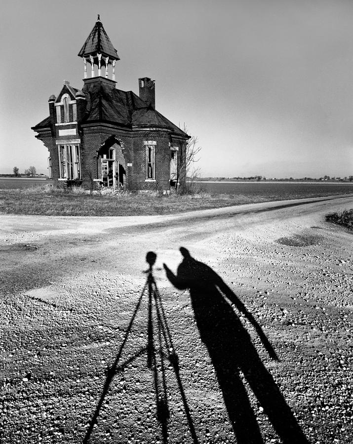 Abandoned School House And My Shadow Circa 1985 Photograph  - Abandoned School House And My Shadow Circa 1985 Fine Art Print