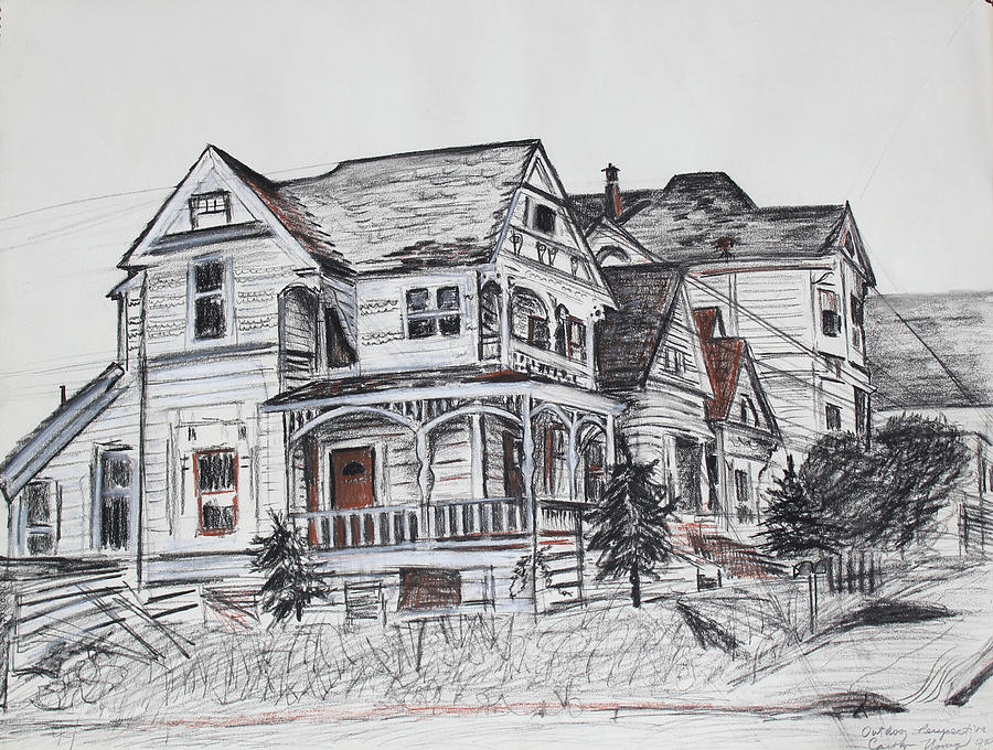 Abandoned Victorian And Neighbors In Oakland California Drawing