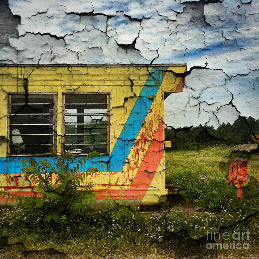 Abandoned Yellow Trailer Digital Art