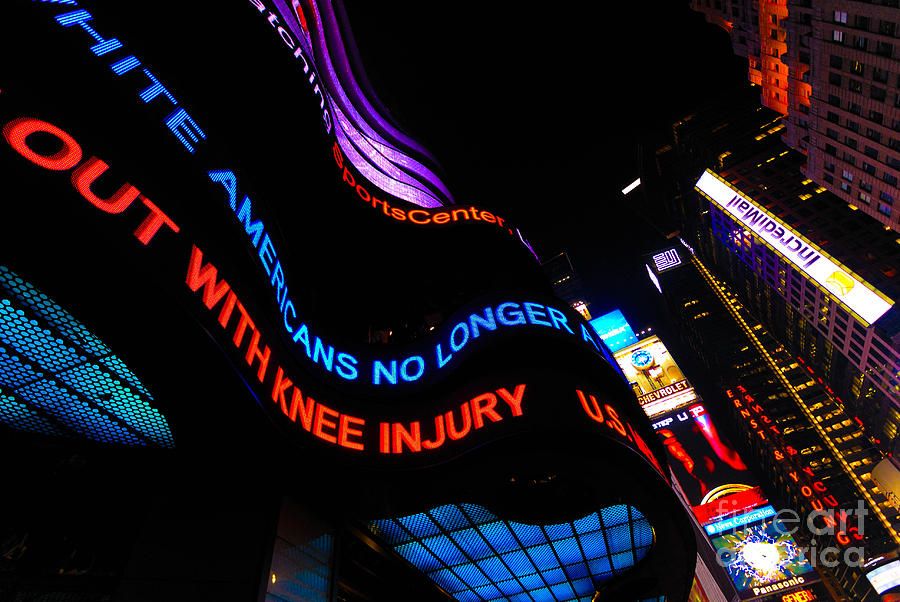 Abc News Scrolling Marquee In Times Square New York City Photograph