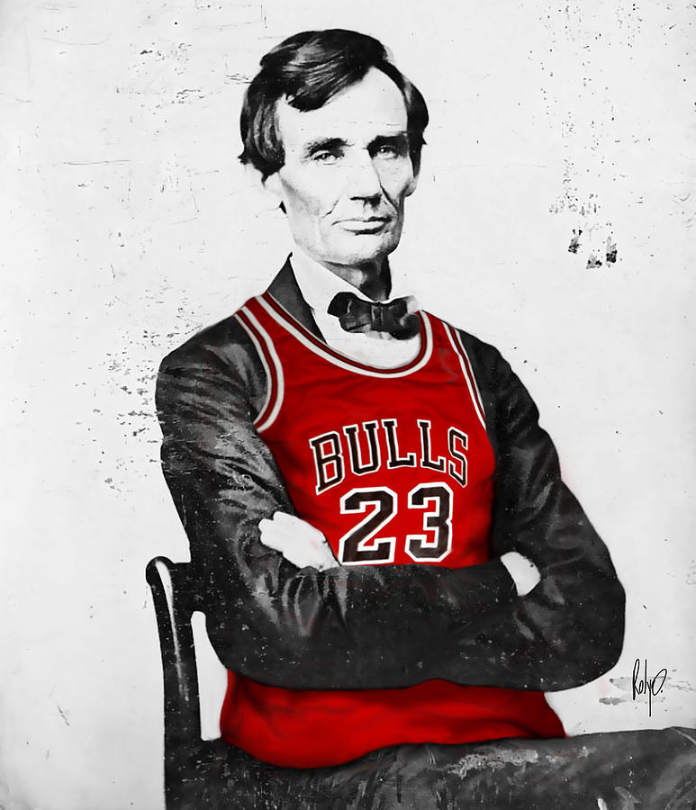 Abe Lincoln In A Bulls Jersey Drawing  - Abe Lincoln In A Bulls Jersey Fine Art Print