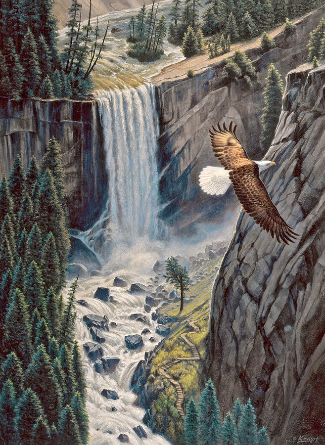 Above The Falls - Vernal Falls Painting