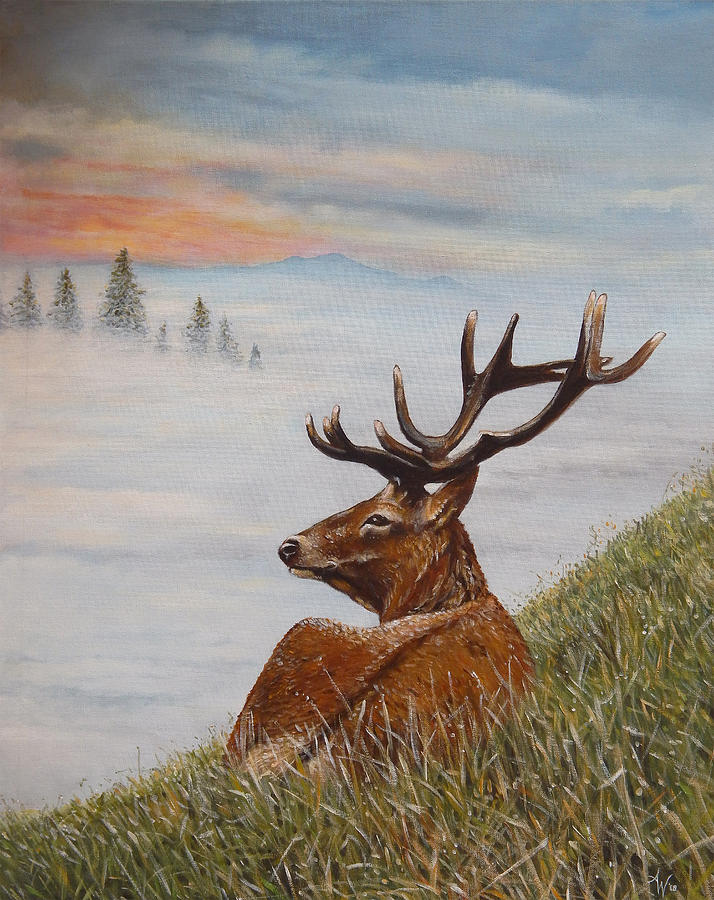 Deer Mist Tree Sunrise Antlers Grass Blue Painting - Above The Mist by Arie Van der Wijst