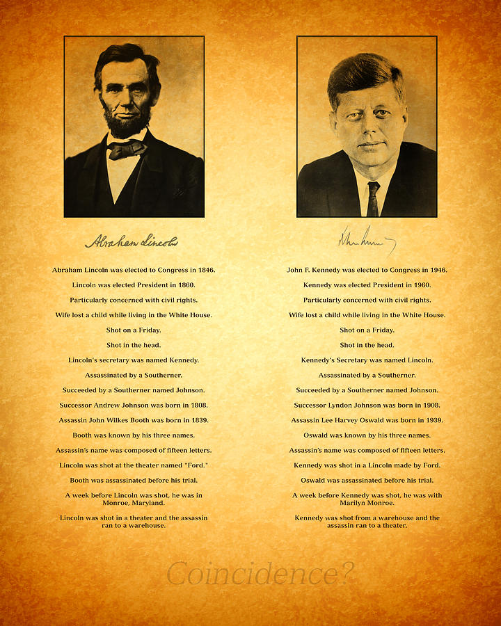 Abraham Lincoln And John F Kennedy Presidential Similarities And Coincidences Conspiracy Theory Fun Photograph