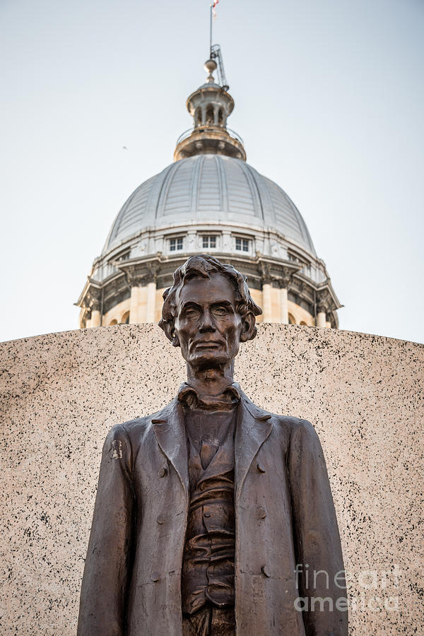 Abraham Lincoln Statue At Illinois State Capitol Photograph  - Abraham Lincoln Statue At Illinois State Capitol Fine Art Print