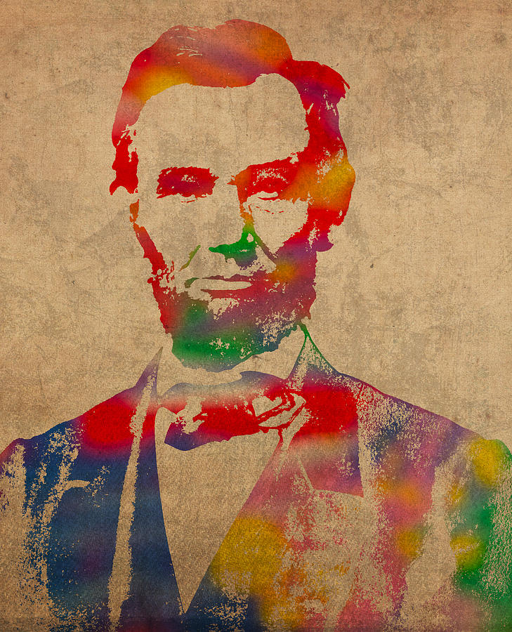 Abraham Lincoln Watercolor Portrait On Worn Distressed Canvas Mixed Media