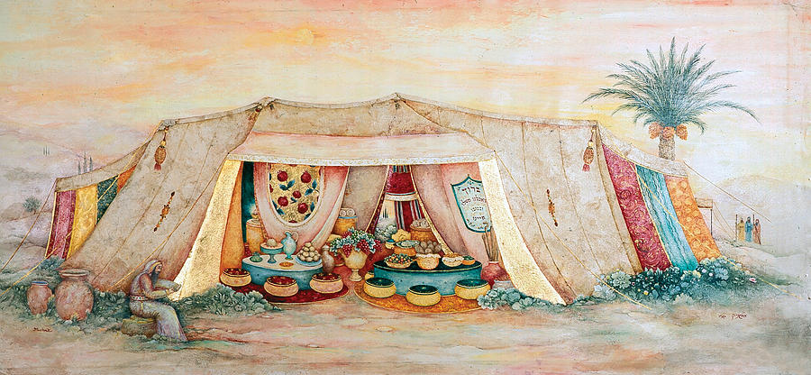 Ancient Painting - Abrahams Tent by Michoel Muchnik