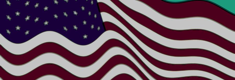 Abstract 50 Star American Flag Flying Enhanced Cropped X 2 Digital Art