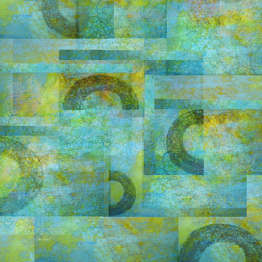 Abstract Art Blue Collage Digital Art  - Abstract Art Blue Collage Fine Art Print