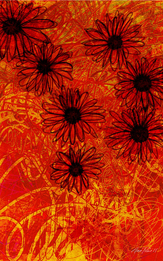 abstract - art- flowers - Daisies  Digital Art  - abstract - art- flowers - Daisies  Fine Art Print