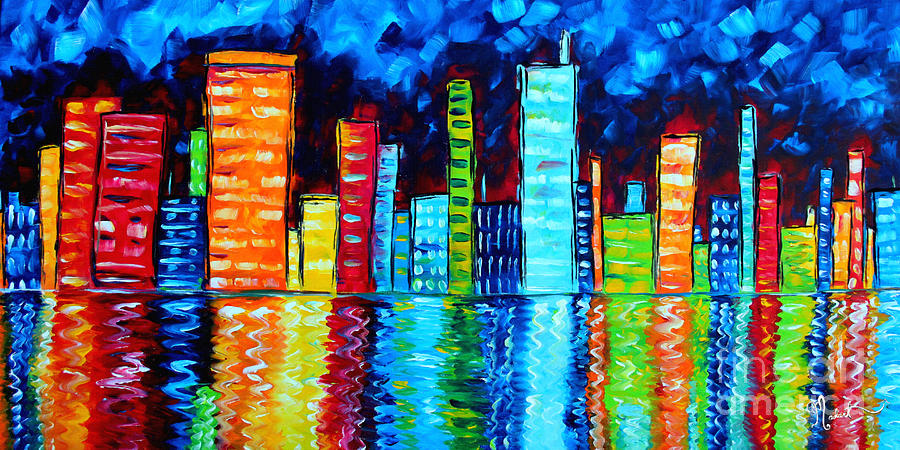Abstract Painting - Abstract Art Landscape City Cityscape Textured Painting City Nights II By Madart by Megan Duncanson