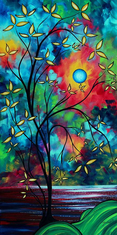 Abstract Art Landscape Tree Blossoms Sea Painting Under The Light Of The Moon II By Madart Painting