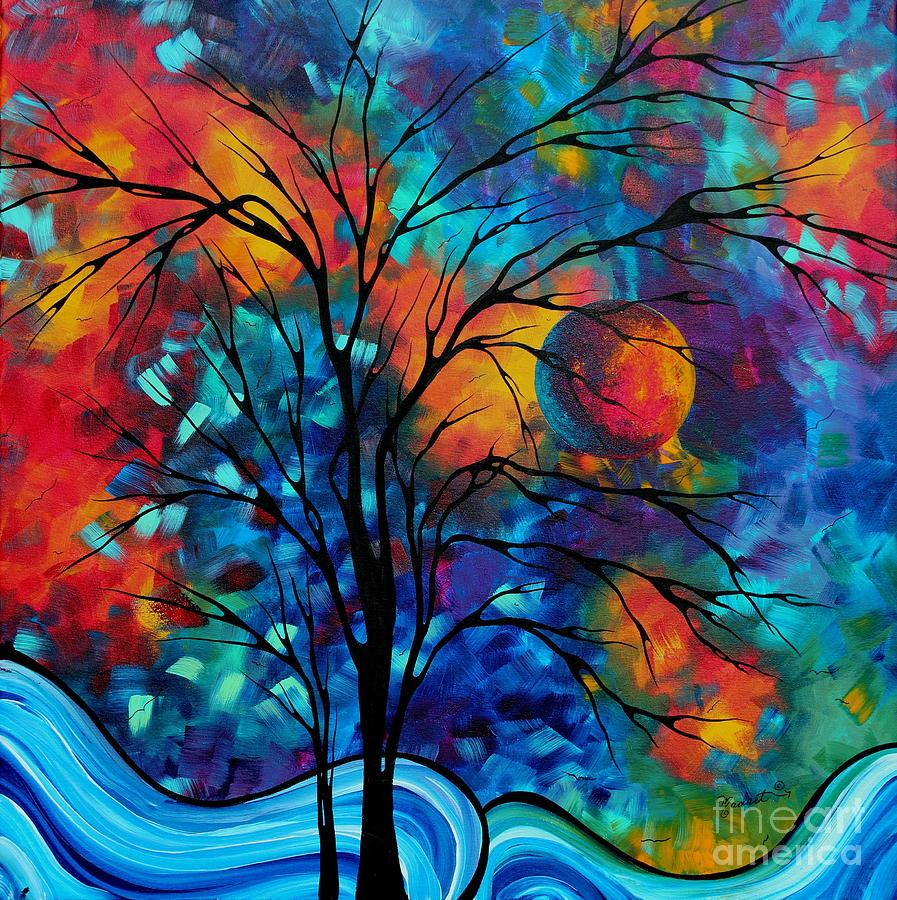 Abstract Art Landscape Tree Bold Colorful Painting A Secret Place By Madart Painting  - Abstract Art Landscape Tree Bold Colorful Painting A Secret Place By Madart Fine Art Print
