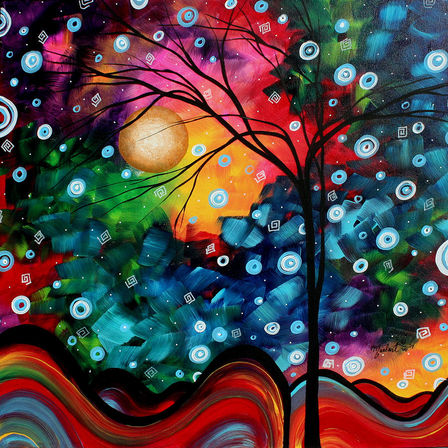 Abstract Art Landscape Tree Painting Brilliance In The Sky Madart Painting  - Abstract Art Landscape Tree Painting Brilliance In The Sky Madart Fine Art Print