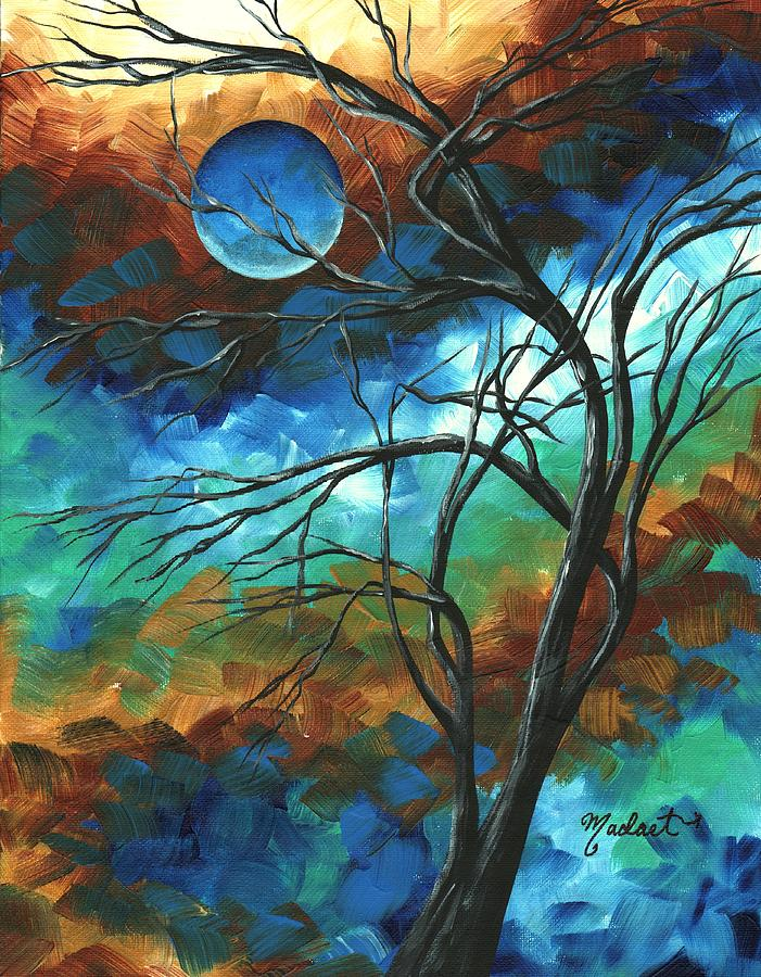Abstract Art Original Colorful Painting Mystery Of The Moon By Madart Painting  - Abstract Art Original Colorful Painting Mystery Of The Moon By Madart Fine Art Print