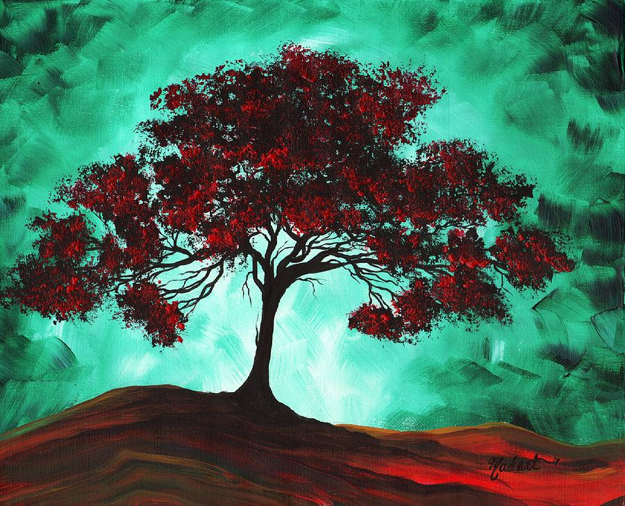 Abstract Art Original Colorful Tree Painting Passion Fire By Madart Painting  - Abstract Art Original Colorful Tree Painting Passion Fire By Madart Fine Art Print