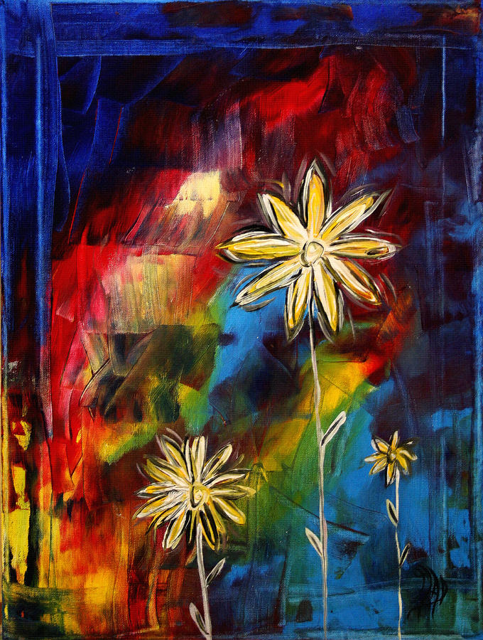Abstract Art Original Daisy Flower Painting Visual Feast By Madart Painting