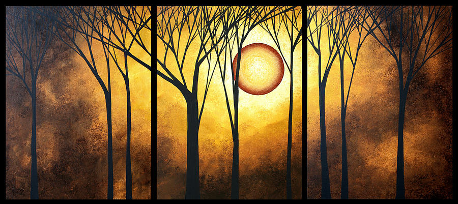 Abstract Art Original Landscape Golden Halo By Madart Painting
