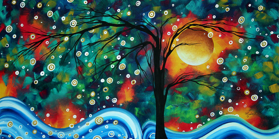 Abstract Painting - Abstract Art Original Landscape Painting Bold Circle Of Life Design Dance The Night Away By Madart by Megan Duncanson