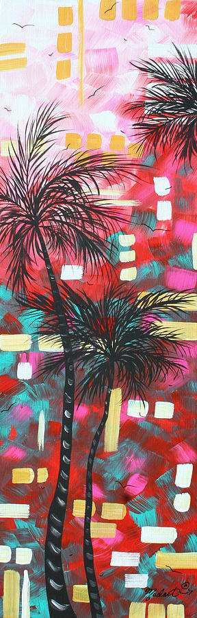 Abstract Art Original Tropical Landscape Painting Fun In The Tropics By Madart Painting  - Abstract Art Original Tropical Landscape Painting Fun In The Tropics By Madart Fine Art Print