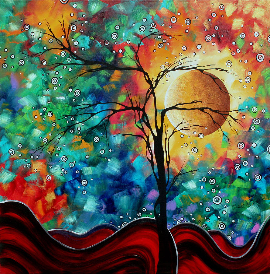Abstract Art Original Whimsical Modern Landscape Painting Bursting Forth By Madart Painting