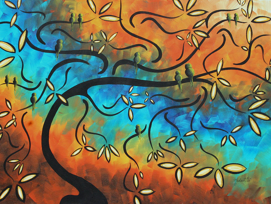 Abstract Painting - Abstract Bird Painting Original Art Madart Tree House by Megan Duncanson