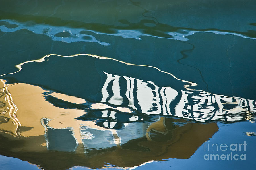 Abstract Boat Reflection Photograph  - Abstract Boat Reflection Fine Art Print