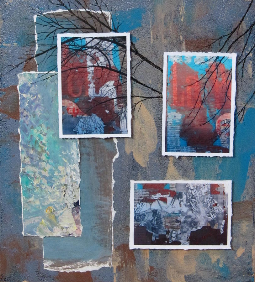 Abstract Branch Collage Trio Mixed Media