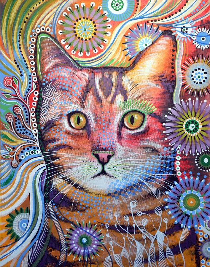 Doodlecat: 3 amazing colorful cat paintings!