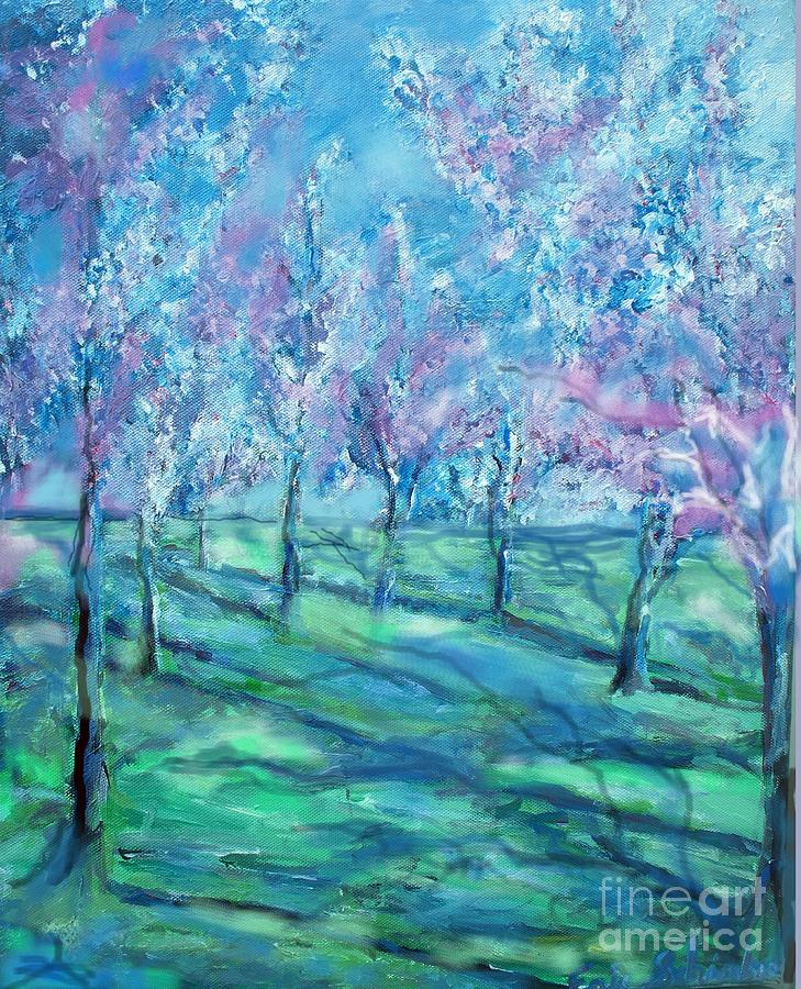 Abstract Cherry Trees Painting