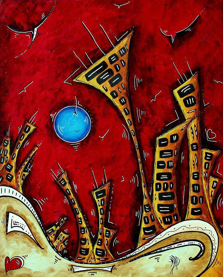 Abstract Painting - Abstract City Cityscape Art Original Painting Stand Tall By Madart by Megan Duncanson