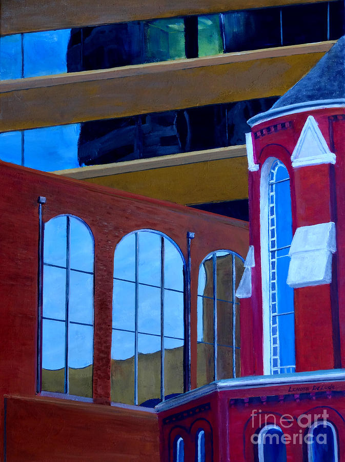 Abstract City Downtown Shreveport Louisiana Urban Buildings And Church Painting  - Abstract City Downtown Shreveport Louisiana Urban Buildings And Church Fine Art Print