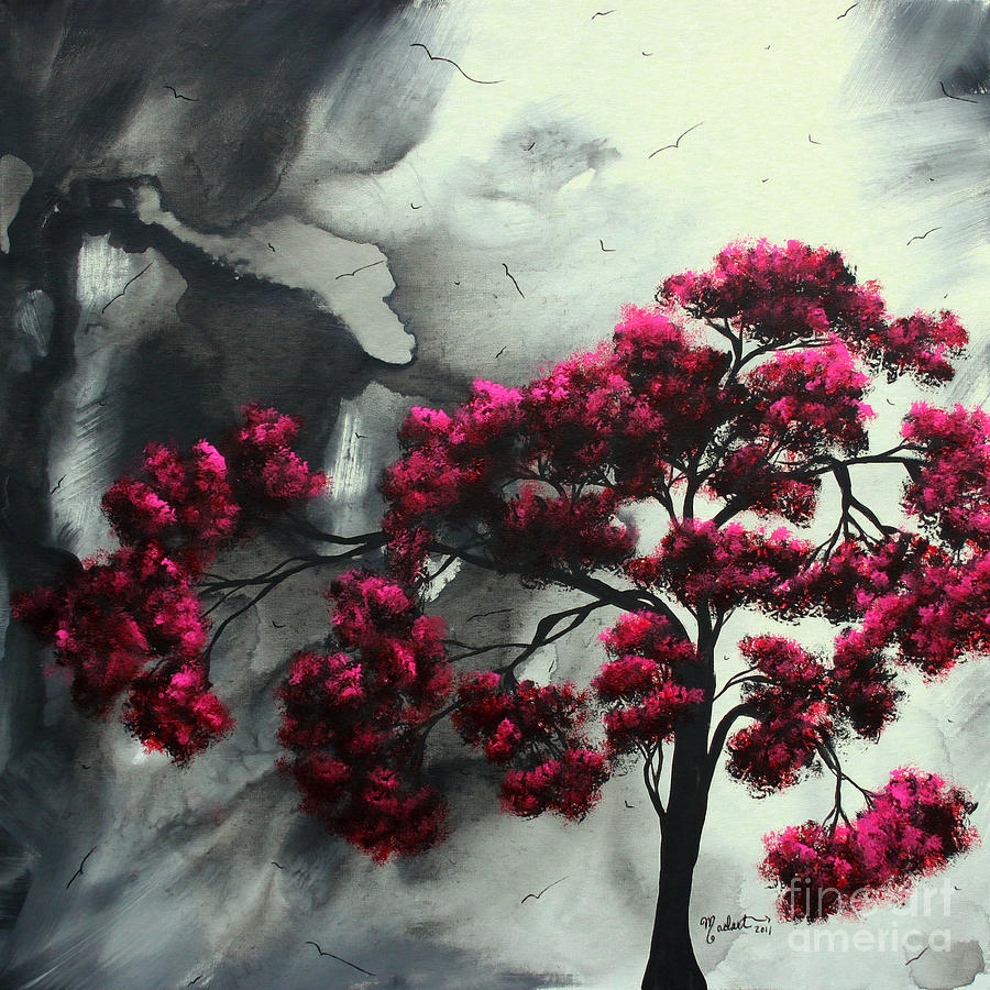 Abstract Contemporary Art Landscape Painting Modern Artwork Pink Passion By Madart Painting