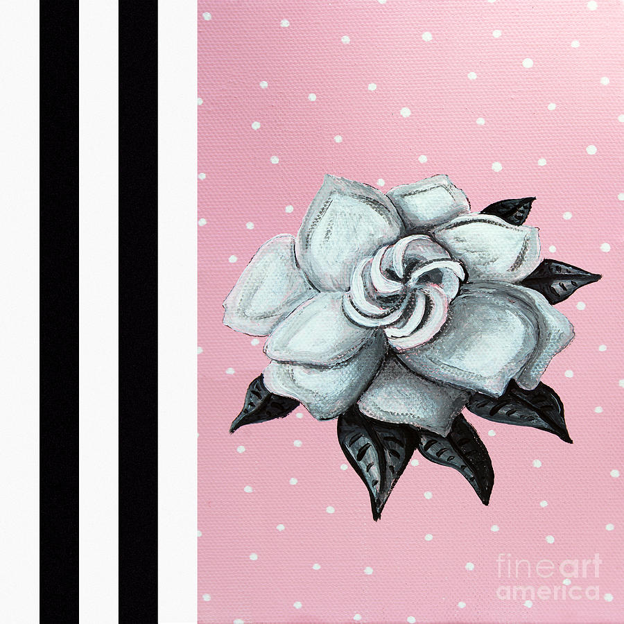 Abstract Contemporary Whimsical Pink Painting Gardenia Flower By Madart Painting