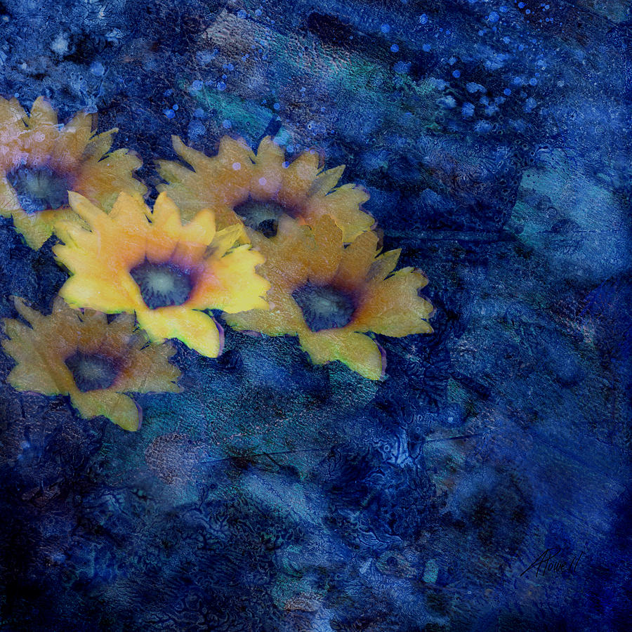 Abstract Daisies On Blue Mixed Media  - Abstract Daisies On Blue Fine Art Print