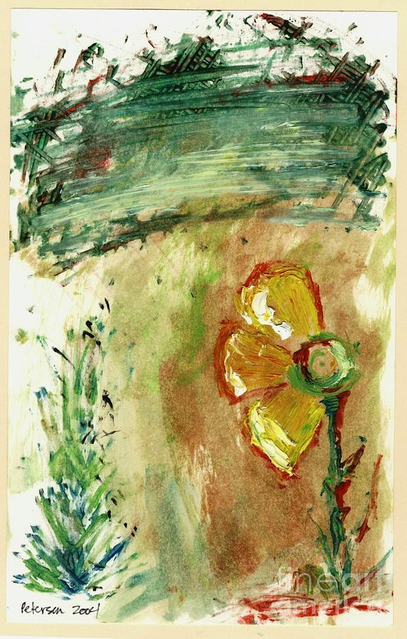 Daisy Flower Plant Broken Missing Petals Cathy Peterson Ventura California Listed Artist Watercolor Oil Paint Painting Modern Contemporary Impressionist Impressionism Expressionist Abstract Realism Minimalism Rural Scenes Fantasy Original Works Pen Pencil Graphic Colored Pencils India Ink Gouache Mixed Media House Coffee Fine Design Oeuvre Printmaking Westmont College Santa Barbara Cloth Panels Paper Drawings Sketches Experimental Ideas Dekalb 1964 Painter Interpretive Art Painting - Abstract Daisy by Cathy Peterson