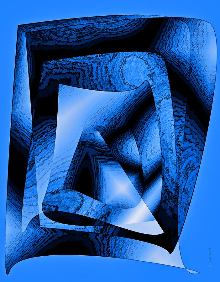 Design Digital Art - Abstract Design In Blue Contrast by Mario Perez
