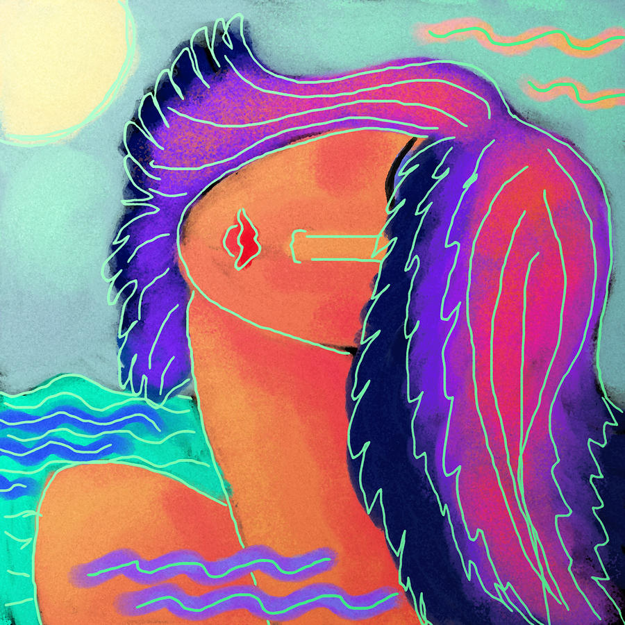 Abstract Digital Painting Of A Woman In The Ocean Painting