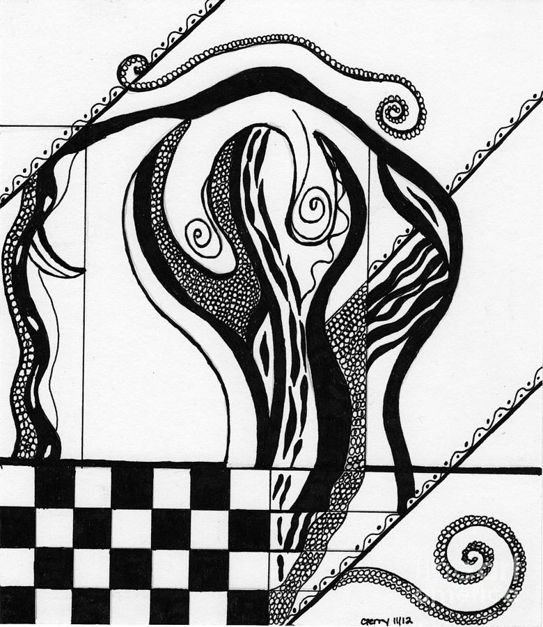 Contemporary Line Drawing Artists : Abstract figure in black and white drawing by christine