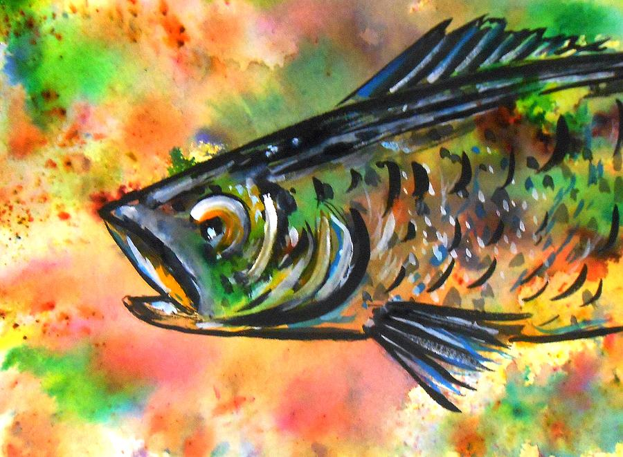 abstract fish painting by rita drolet
