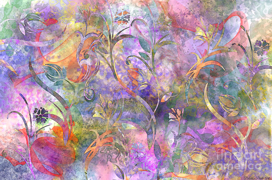 Abstract Floral Designe  Digital Art  - Abstract Floral Designe  Fine Art Print