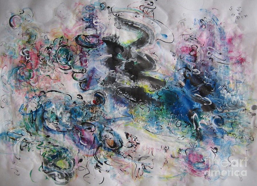Abstract Flower Field Painting Blue Pink Green Purple Black Landscape Painting Modern Acrylic Pastel Painting