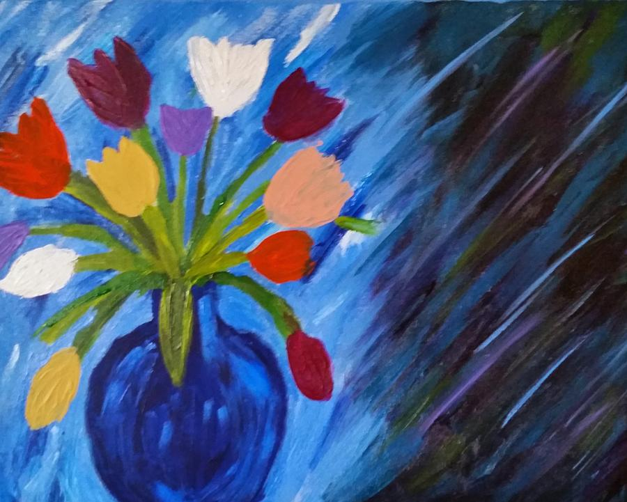 Abstract Painting Of Flowers In A Vase Abstract Painting Of Flowers