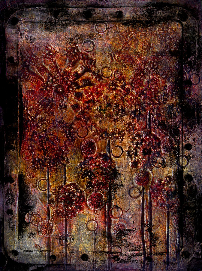 Abstract flowers textured painting painting by laura carter for Textured acrylic abstract paintings