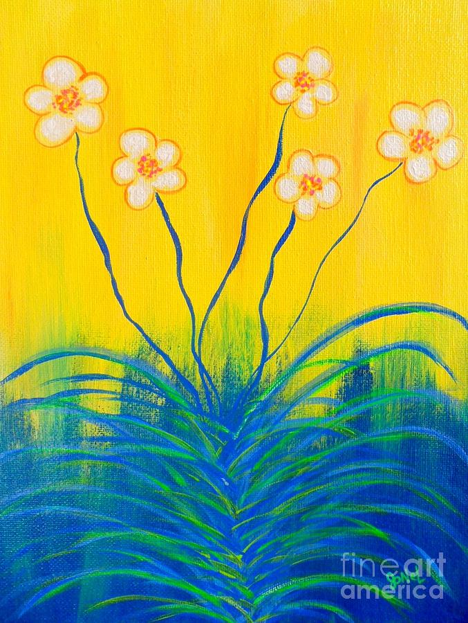 Abstract Flowers-yellow Painting