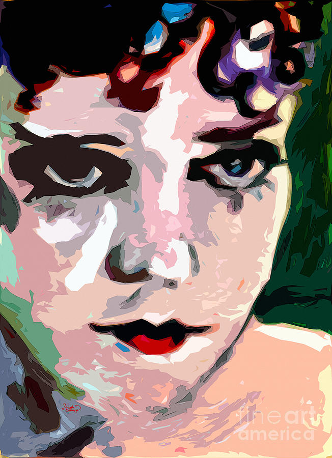 Abstract Gloria Swanson Silent Movie Star Painting  - Abstract Gloria Swanson Silent Movie Star Fine Art Print