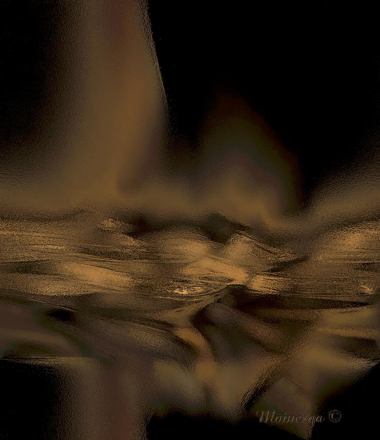 Abstract Golden Fireplace Digital Art