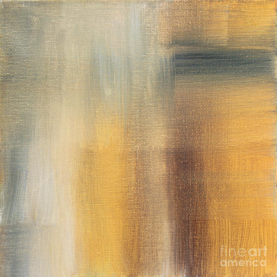 Abstract Painting - Abstract Golden Yellow Gray Contemporary Trendy Painting Fluid Gold Abstract II By Madart Studios by Megan Duncanson