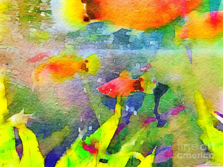 Abstract goldfish fish bowl aquarium watercolor 1 painting for Fish tank paint