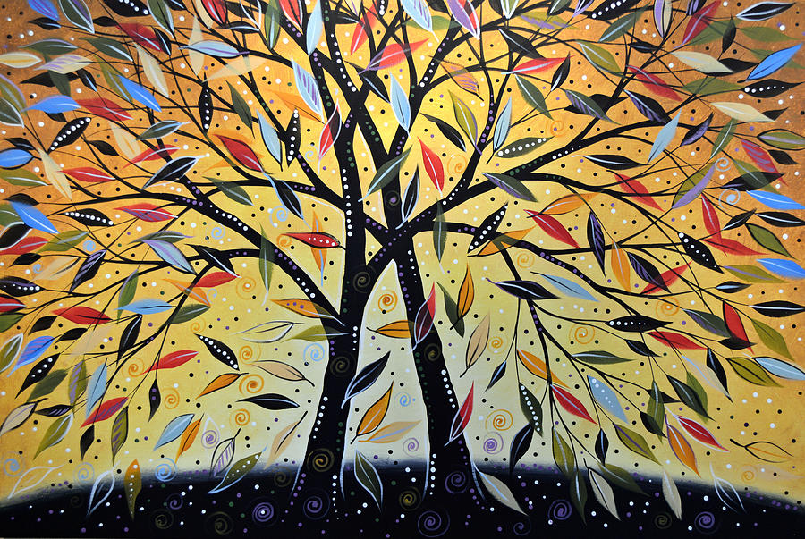 Modern Painting - Abstract Landscape Modern Tree Art Painting ... New Day Dawning by Amy Giacomelli